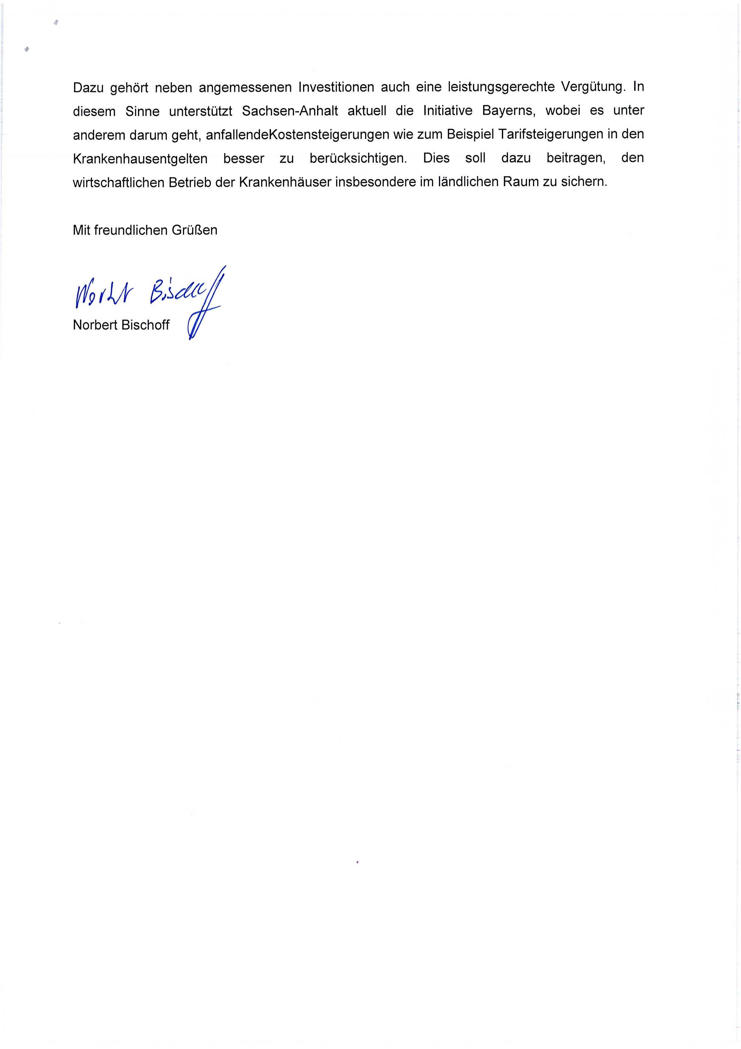 Antwortschreiben Minister Bischoff
