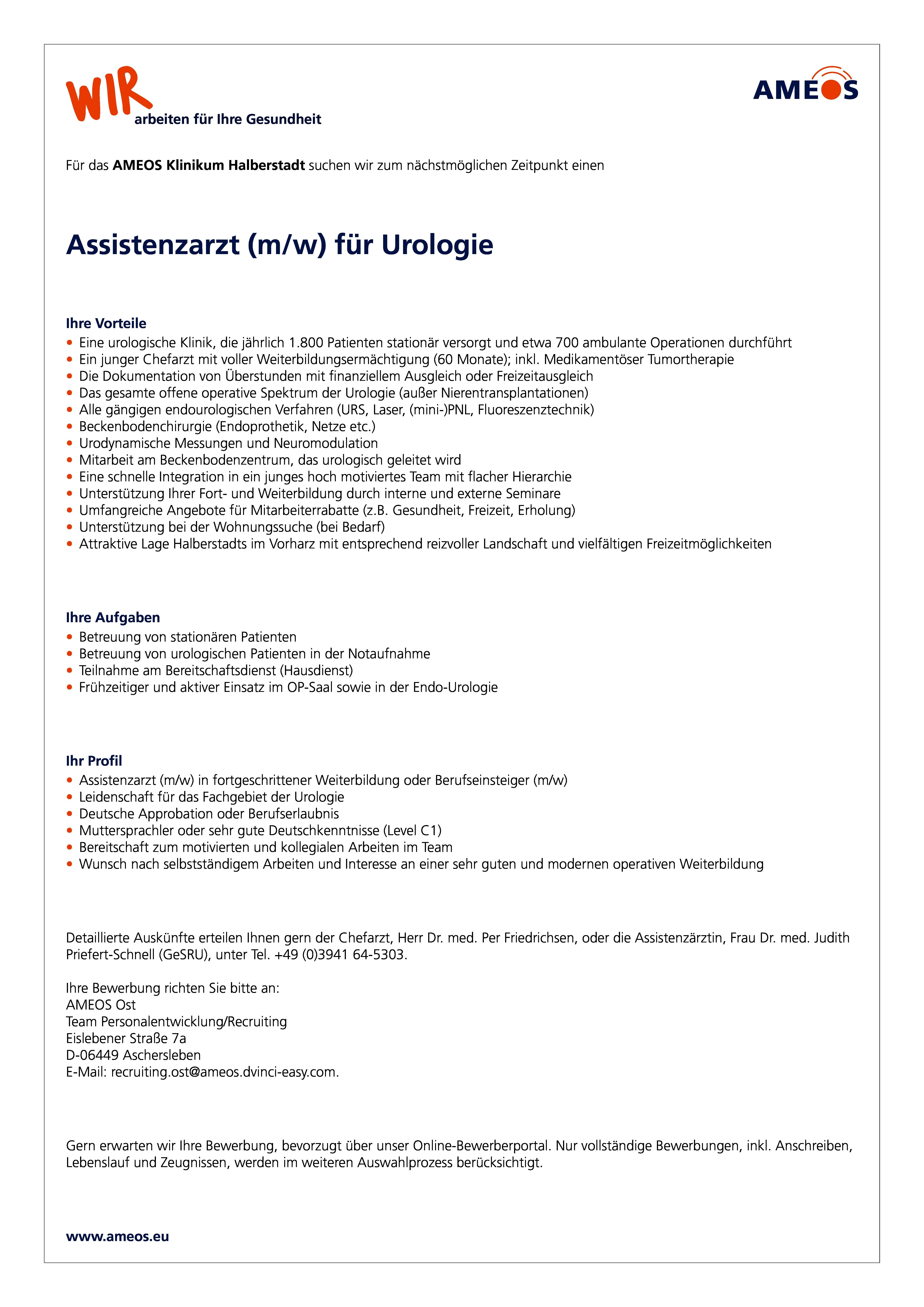 assistenzarzt mw fr urologie - Bewerbung Weiterbildung