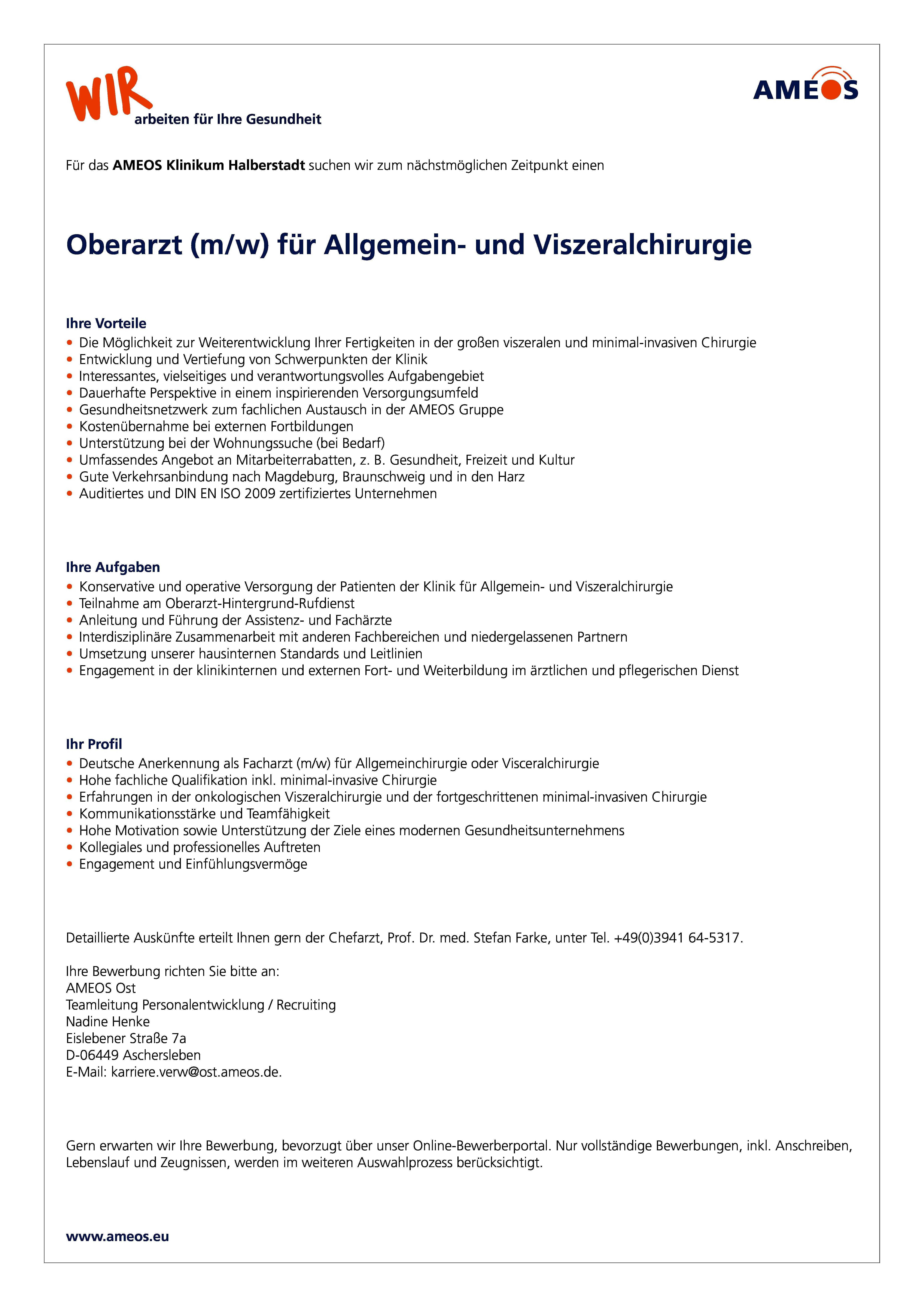 oberarzt mw fr allgemein und viszeralchirurgie job id1082
