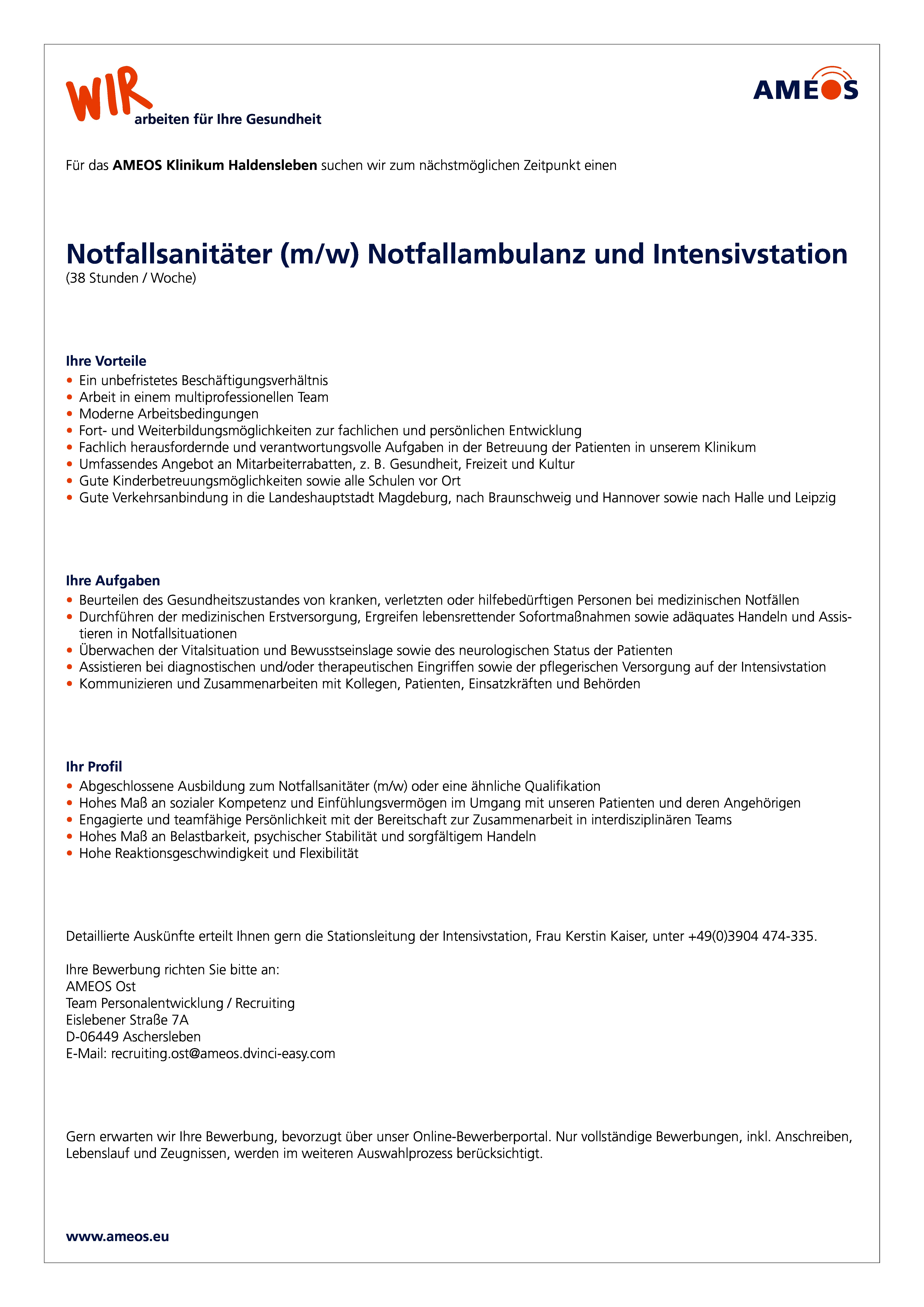 notfallsanitter mw notfallambulanz und intensivstation - Bewerbung Notfallsanitater